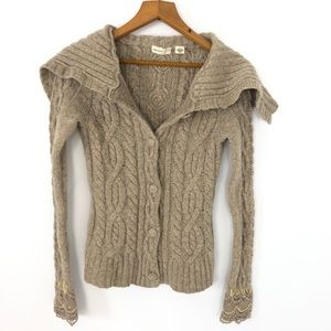 Anthropologie wool chunky cable knit sweater